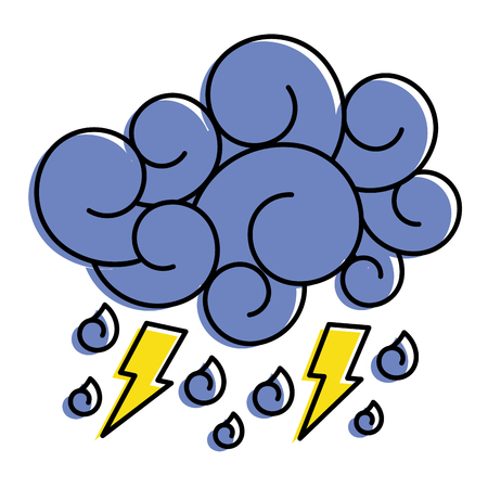 blue cloud lightning raindrops cartoon image vector illustration