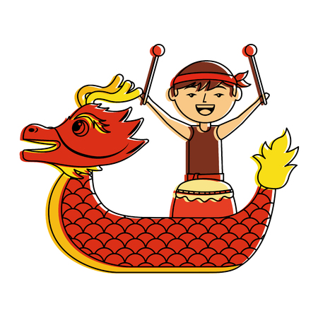 red dragon man with drum festival chinese vector illustration