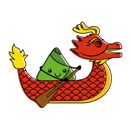 rode draak rijst knoedel peddelen festival chinese vector illustratie
