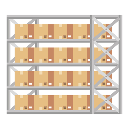 shelving warehouse with boxes vector illustration design