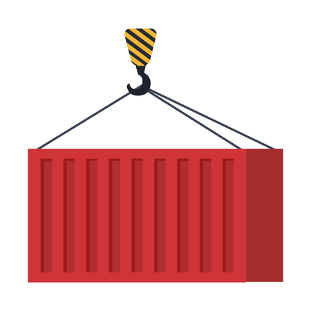 crane hook lifting container vector illustration design