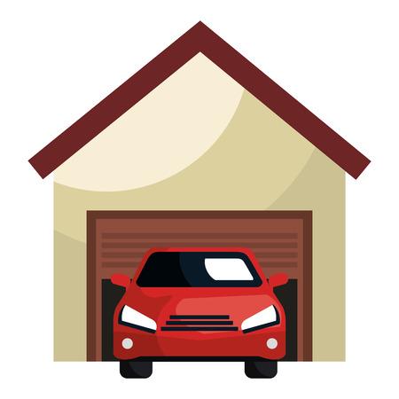 garage building with car vector illustration design Çizim