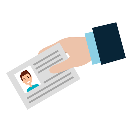 hand with id document card icon vector illustration design