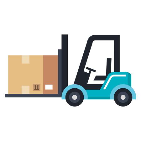 forklift vehicle with box vector illustration design