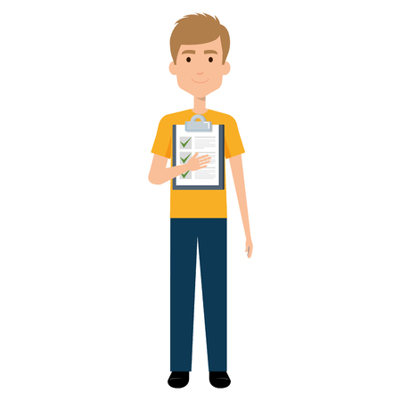 delivery worker with checklist avatar character vector illustration design
