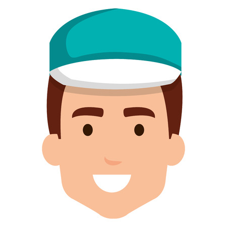 delivery worker head avatar character vector illustration design Illustration