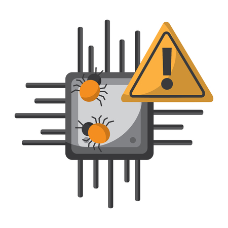 cpu chip with virus warning icon image vector illustration design