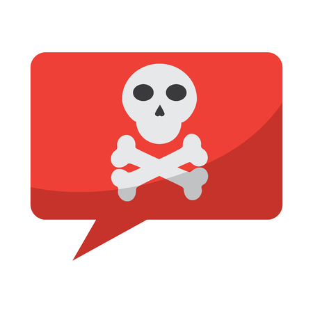 skull with bones in chat bubble icon image vector illustration design