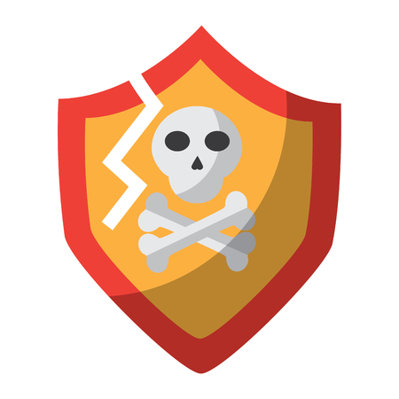 antivirus shield broken icon image vector illustration design
