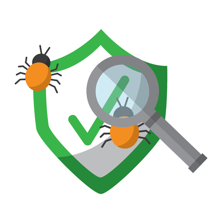 antivirus shield with bugs and magnifying glass  icon image vector illustration design