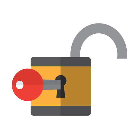 open safety lock with key icon image vector illustration design  Ilustração