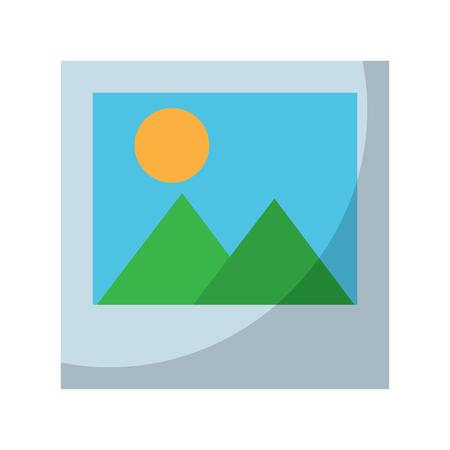 instant photo mountains and sun icon image vector illustration design  Ilustracja