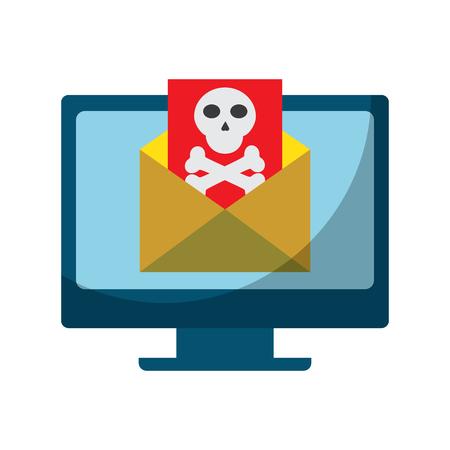 ウイルスアイコン画像ベクトルイラストデザインのデスクコンピュータ