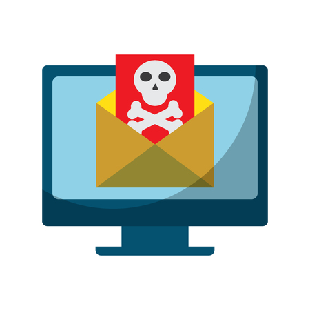 desk computer with virus  icon image vector illustration design