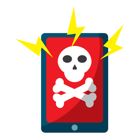 smartphone with virus icon image vector illustration design