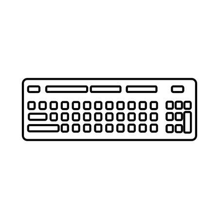 computer keyboard icon image vector illustration design  black line Illustration
