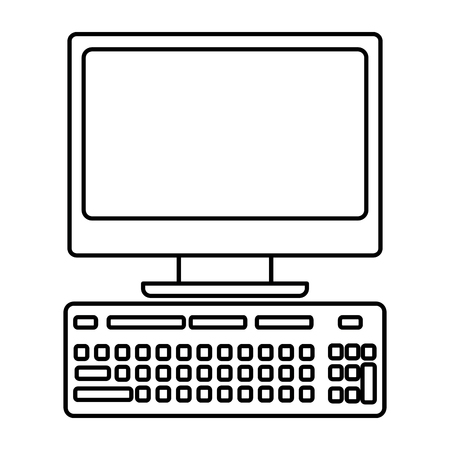 desk computer with keyboard icon image vector illustration design  black line