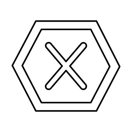 x forbidden no access danger icon image vector illustration design  black line