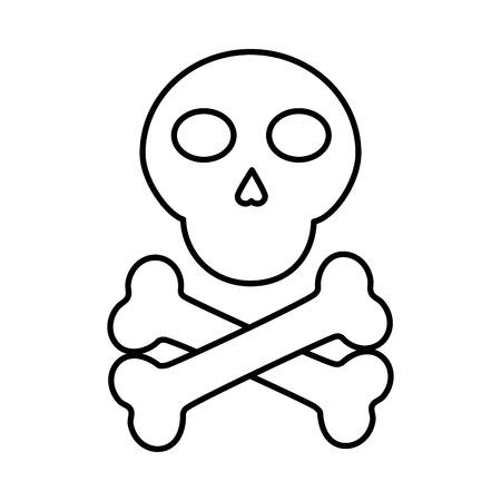 skull with bones icon image vector illustration design  black line Illusztráció