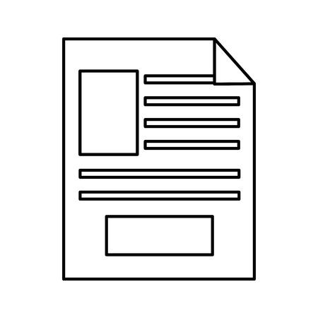 ●紙文書アイコン画像ベクトルイラストデザイン黒線。  イラスト・ベクター素材