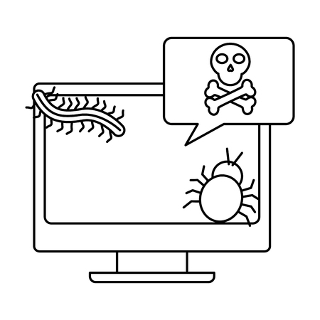 desk computer with virus  icon image vector illustration design  black line 일러스트