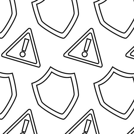 seamless pattern shield protection warning alert digital vector illustration