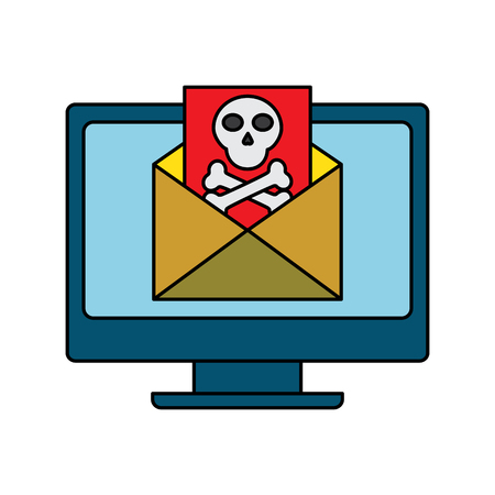 Computer monitor email message virus vector illustration