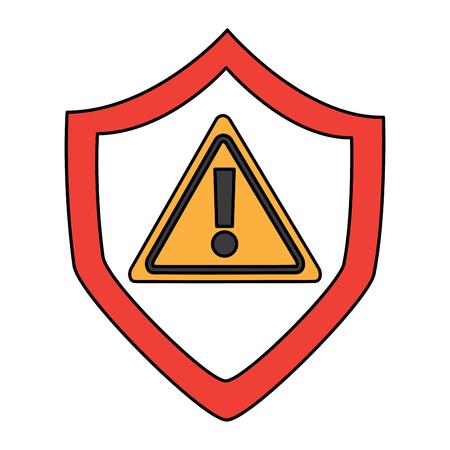 シールド保護安全警告サイバーコンセプトベクトルイラスト  イラスト・ベクター素材