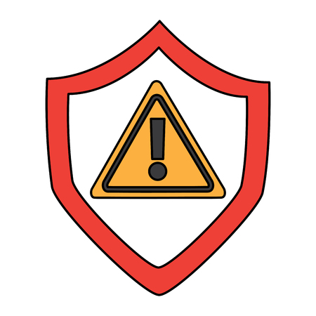 Shield protection safety warning cyber concept vector illustration