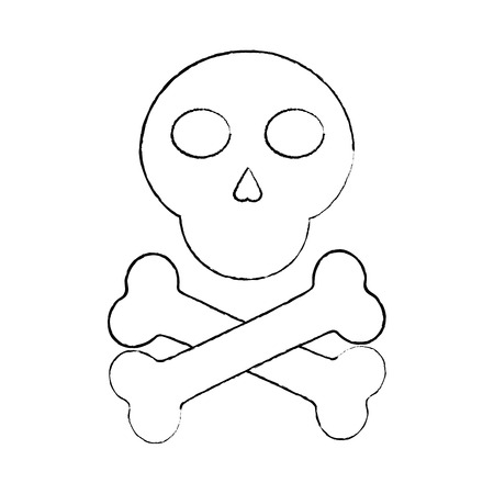 skull and crossed bones danger image vector illustration sketch design Ilustrace