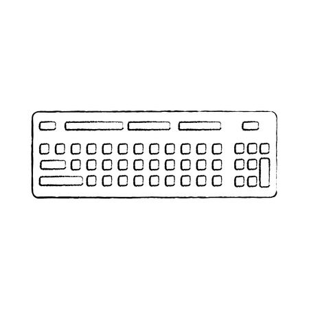 computer keyboard device equipment icon vector illustration sketch design