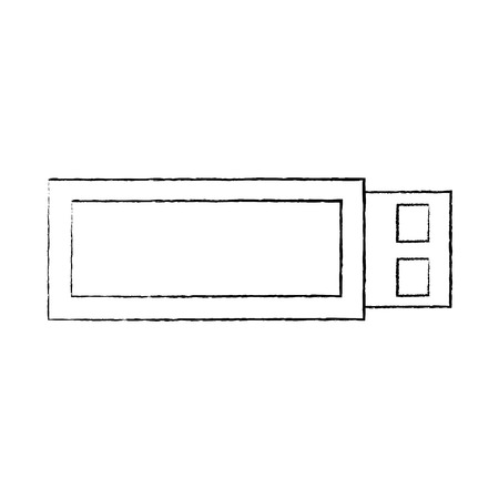 usb device wireless backup technology vector illustration sketch design Illustration