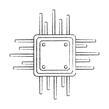 motherboard circuit data processor technology connection vector illustration sketch design