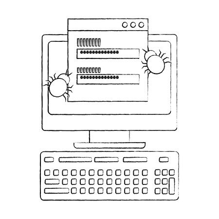 computer password access hacker virus data vector illustration sketch design