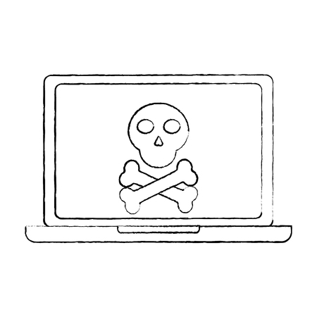 laptop computer malware spam data insecure connection concept vector illustration sketch design