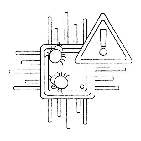 motherboard data warning virus hacking vector illustration sketch design Foto de archivo - 94839971