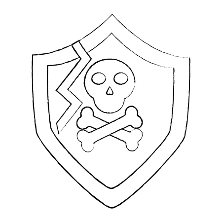 shield protection vulnerability system information vector illustration sketch design