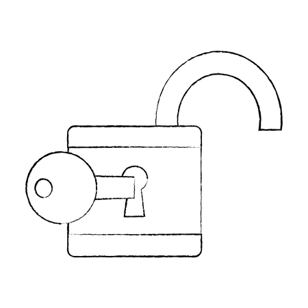 open padlock and key protection cyber data vector illustration sketch design