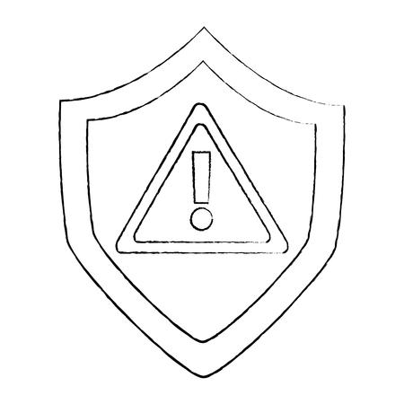 シールド保護安全警告サイバーコンセプトベクトルイラストスケッチデザイン