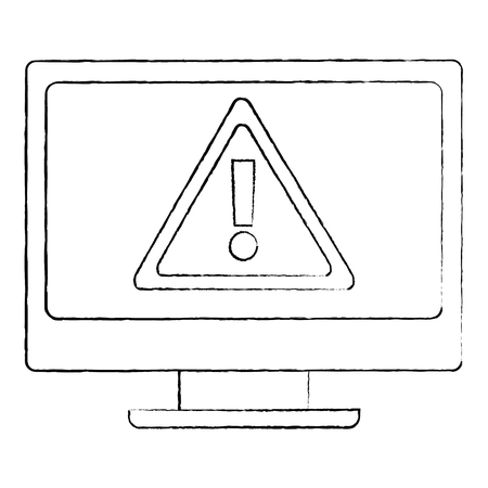 monitor computer warning error cyber vulnerability concept vector illustration sketch design