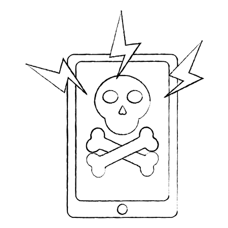 smartphone technology virus attack alert danger vector illustration sketch design