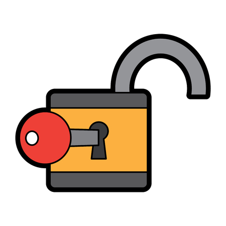 open padlock and key protection cyber data vector illustration