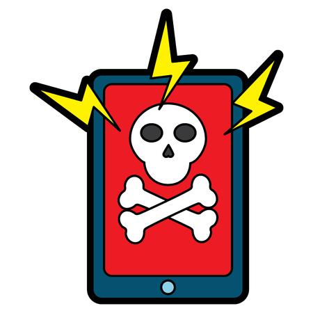 smartphone technology virus attack alert danger vector illustration 向量圖像