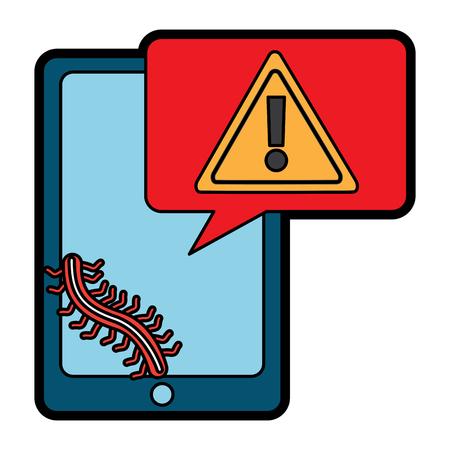 smartphone device message warning worm alert attack vector illustration
