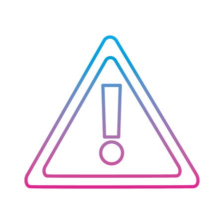 warning sign alert system technology symbol vector illustration degraded line color image Ilustração