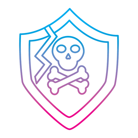 shield protection vulnerability system information vector illustration degraded line color image