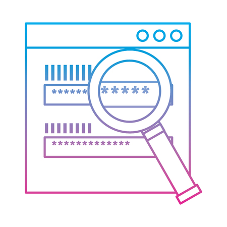 Web access password login magnifier search vector illustration degraded line color image Illustration
