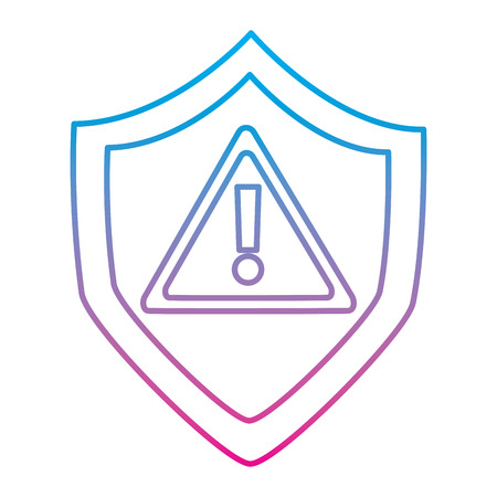 shield protection safety warning cyber concept vector illustration degraded line color image 版權商用圖片 - 94844749