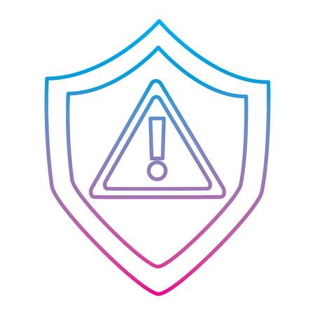 shield protection safety warning cyber concept vector illustration degraded line color image Ilustração