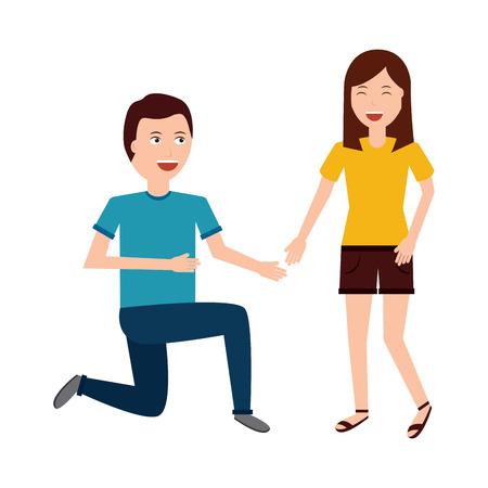 man on his knee proposal in front of woman vector illustration Illusztráció